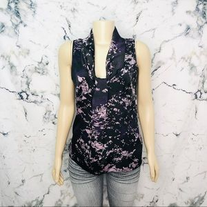 Mexx Neck Tie Sleeveless Marble Abstract Blouse